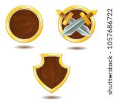 vector set of wooden shields...
