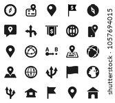 flat vector icon set   compass... | Shutterstock .eps vector #1057694015