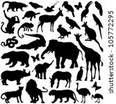 Stock vector zoo animals collection vector silhouette 105772295