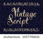 vector vintage script font with ... | Shutterstock .eps vector #1057740632