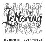 rough lettering font set with... | Shutterstock .eps vector #1057740635