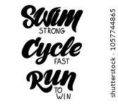 triathlon hand drawn lettering  ... | Shutterstock .eps vector #1057744865