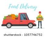 vector cartoon style farmers... | Shutterstock .eps vector #1057746752