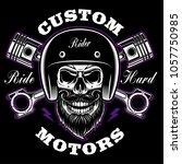 biker skull with beard and... | Shutterstock .eps vector #1057750985