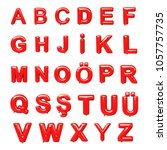 english alphabet glossy red... | Shutterstock . vector #1057757735