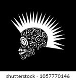 punk skull icon with mohawk ... | Shutterstock .eps vector #1057770146