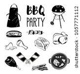 bbq party foods set. poster...   Shutterstock . vector #1057771112