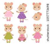 cute mouses. vector flat... | Shutterstock .eps vector #1057773698