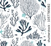 seamless pattern sea coral reef ... | Shutterstock .eps vector #1057780082