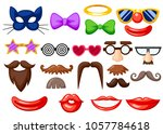 set of fun masks. party... | Shutterstock .eps vector #1057784618