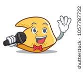 singing fortune cookie mascot... | Shutterstock .eps vector #1057787732