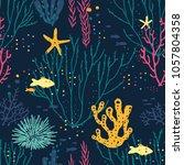 seamless hand drawn pattern... | Shutterstock .eps vector #1057804358