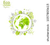 environmentally friendly world. ... | Shutterstock .eps vector #1057805615
