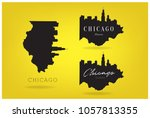 chicago illinois with star ... | Shutterstock .eps vector #1057813355