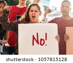 closeup of angry teen girl... | Shutterstock . vector #1057815128