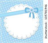 baby frame with blue bow and... | Shutterstock .eps vector #105781946