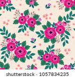 floral seamless pattern with... | Shutterstock .eps vector #1057834235