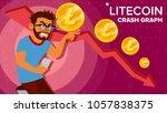 litecoin crash graph vector.... | Shutterstock .eps vector #1057838375