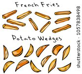 french fries and potato wedges. ... | Shutterstock .eps vector #1057838498