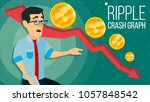 ripple crash graph. surprised... | Shutterstock . vector #1057848542