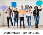 group of diverse people with... | Shutterstock . vector #1057849682