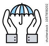line icon insurance  insurance... | Shutterstock .eps vector #1057858202