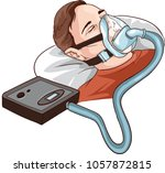young man lying on bed with... | Shutterstock .eps vector #1057872815