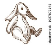 bunny rabbit plush retro toy... | Shutterstock .eps vector #1057873196