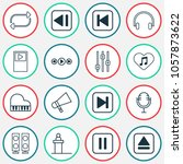 audio icons set with fast... | Shutterstock .eps vector #1057873622