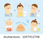 happy baby sitting on chamber... | Shutterstock .eps vector #1057912748
