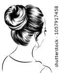 woman with messy bun | Shutterstock .eps vector #1057917458