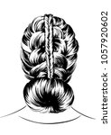 woman with double braid... | Shutterstock .eps vector #1057920602
