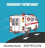 ambulance in motion driving... | Shutterstock .eps vector #1057921196