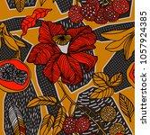 seamless hand drawn tropical... | Shutterstock .eps vector #1057924385