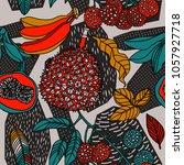 print summer exotic jungle... | Shutterstock .eps vector #1057927718