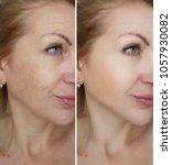 face woman wrinkles    | Shutterstock . vector #1057930082