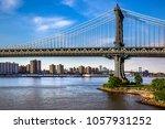 fragment of manhattan bridge... | Shutterstock . vector #1057931252
