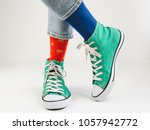 stylish  bright  green sneakers ... | Shutterstock . vector #1057942772