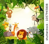 wildlife jungle animals... | Shutterstock .eps vector #1057945808