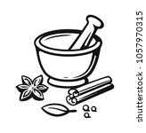 mortar and pestle with spices... | Shutterstock .eps vector #1057970315