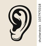 the black human ear on baige.... | Shutterstock .eps vector #1057970318