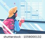 girl traveler watch schedule of ...   Shutterstock .eps vector #1058000132