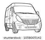 modern minibus technical draw | Shutterstock .eps vector #1058005142