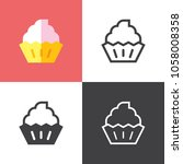 cupcake icons 2018 | Shutterstock .eps vector #1058008358