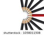 red pencil standing center of... | Shutterstock .eps vector #1058011508