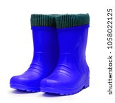 baby blue rubber boots with a...   Shutterstock . vector #1058022125