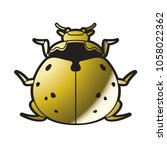 isolated gold color lady bird... | Shutterstock .eps vector #1058022362