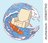 couch surfing a wave vector... | Shutterstock .eps vector #1058037542