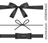 black bow with ribbons set... | Shutterstock .eps vector #1058048162