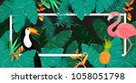 tropical flowers background.... | Shutterstock .eps vector #1058051798